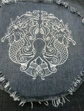 Embroidered White Gemini Mermaid Large Denim Fray Patch / Quilt Square Block