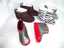 Lot of 3 Pairs Baby Girls Crib Boots Shoes 0/6 mo Rocawear Brown Quilted Zebra