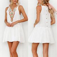 Summer Womens Sleeveless V-Neck Evening Party Cocktail Holiday Short Mini Dress