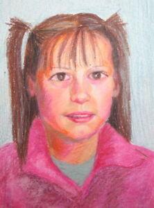 Impressionist girl portrait pastel painting