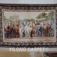 YILONG 3'x4' Handwoven Silk Persian Rug Wall Hanging Tapestry Steed Animal 1201