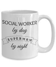 Super Mom Social Worker Mug, Novelty 15oz White Ceramic Coffee Tea Cup Gift Idea