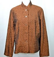 Coldwater Creek Womens Jacket Large Fancy Brown Button Up