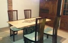 marble dining table and 4 solid wood/ crushed velvet chairs. Furniture village.