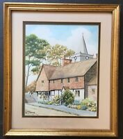Original Art Watercolour Painting Witley Village Church Surrey By Anne M Spence