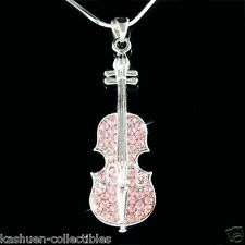 ~Pink VIOLIN VIOLA CELLO made with Swarovski Crystal MUSIC Fiddle Chain Necklace