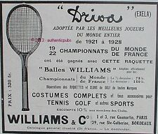 PUBLICITE WILLIAMS & C° RAQUETTE DE TENNIS DRIVA EXELA GOLF BALLES DE 1928 AD