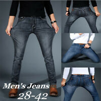 Mens Regular Fit Straight Jeans Skinny Jeans Slim Fit Denim Pants Casual Trouser