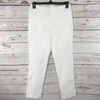 JM Collection Womens Medium M Pants Slim Leg White Stretch Flat Front New