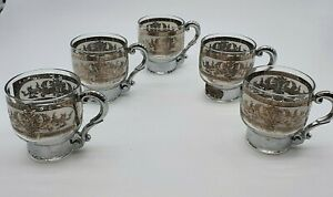 Vintage Antique Etched Glass Ornate Silver Handle Tea Coffee Cup Set of 5