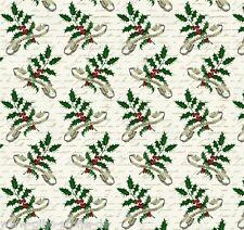 NOEL HOLLY Crème Patchwork Tissu Noël Patchwork Tissu Ilex de Noël tissu