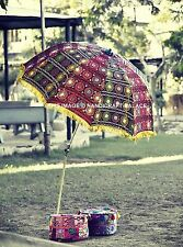Indian Garden Parasol Embroidered Cotton Outdoor Sunshade Patio Umbrella 215 CM