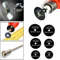 7 Pcs 22-50mm HSS Circular Saw Blade Cutting Discs Set and Mandrel for Drill Set