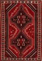 Vintage Geometric Abadeh Tribal Hand-Knotted Area Rug Nomad Oriental Carpet 5x8