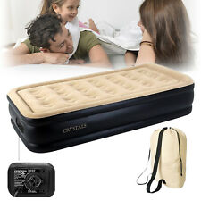 Single High Raised Inflatable Air Bed Mattress Airbed With Builtin Electric Pump