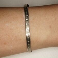 """Sterling Silver Herringbone Bracelet Star/Plain Reversible 7.25"""" 4.3mm"""