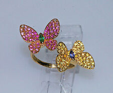18k NATURE YELLOW ROSE GOLD EMERALD TANZANITE RUBY & SAPPHIRE BUTTERFLY RING
