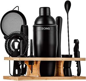 Soing 11-Piece Black Bartender Kit,Perfect Home Cocktail Shaker Set for Drink Mi