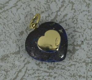 18 Carat Gold and Lapis Lazuli Heart Pendant or Charm