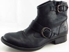 Born Size 38 M Black Short Boots Leather Zip Boots