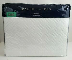 Ralph Lauren Greenwich King Quilted Coverlet Deco White $400 MSRP