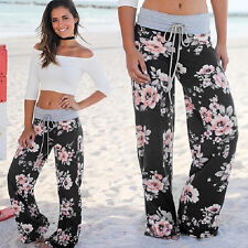 Women Boho Loose Wide Leg Pants Palazzo High Waist Casual Straight Yoga Trousers