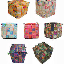 Patchwork Pouf Squar Ottoman Footstool Vintage Cover Indian Handmade Traditional