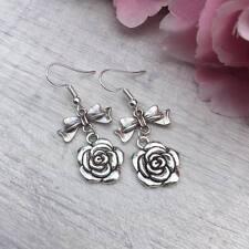 Silver Rose Bow Flower Earrings Drop Dangle Hook Charm Garden Vintage Aiw Gift