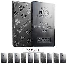 Lot of 10 - 10 oz Republic Metals (RMC) Silver Bar .999 Fine (Sealed)