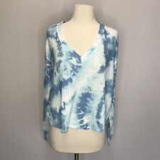 Victoria's Secret PINK SMALL Long Sleeve Cozy V-Neck Pullover Top Blue Tie Dye