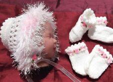 newborn Bonnet boots set 4 baby / reborn handmade white / pink butterflies