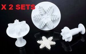 2 SETS OF 3 EMBOSSED SNOWFLAKE PLUNGER CUTTERS XMAS FROZEN CAKE CHRISTMAS PARTY