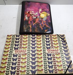 VTG 1996 Mead M&M's 3 Ring Zip Up School Binder And Two Guess For Girls Folders