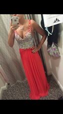 womens/teens coral low cut v neck sleeveless prom dress