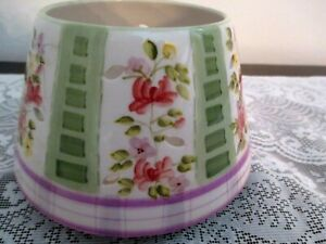 """HOME INTERIORS Climbing Rose  Jar Candle Shade Topper Gift  5 1/2"""" wide base"""