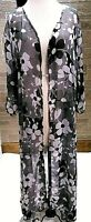 Women's Long Kimono Floral  Beach Cover Up  Black, White boutique one size nwt
