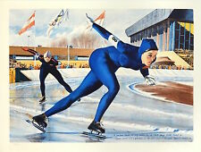 """Olympic Skating (Sheila Young)"" Ltd ED Lithograph by William Nelson # 56 of 400"