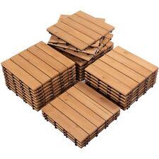 Deck Tiles Wood Flooring Interlocking Wood Patio Paver Tile Indoor Outdoor 27pcs