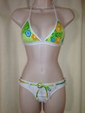 BRAZILIAN SUIMSUIT EMBROIDERY TRIANGLE PAD TOP AND THONG BOTTOM WHITE  SIZE S