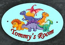 Personalised DINOSAURS DOOR PLAQUE Any Name Kids Room Child's Bedroom Sign