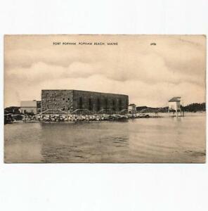 Popham Beach Maine Fort Popham Antique American Art Postcard View