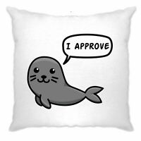 Novelty Animal Cushion Cover Seal Of Approval Pun Joke Slogan Cute Fun