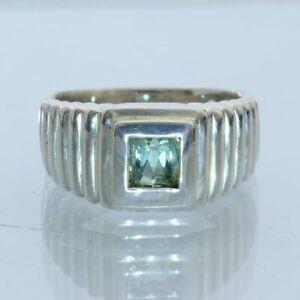 Light Green Tourmaline Handmade Sterling Silver Unisex Gents Ladies Ring size 8
