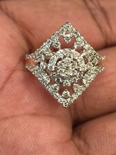 Pave 0.88 Cts Natural Diamonds Engagement Ring In Solid Hallmark 14K Yellow Gold