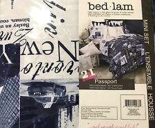 Bed Lam Passport PARIS LONDON BLUE WHITE twin Duvet mini set 2 Piece