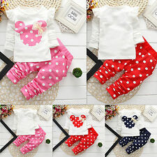 2PCS Minnie Mouse Baby Girl Polka Dot Clothes Outfit - Top & Leggings Trousers