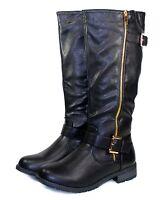 b5bc6608a38 Mango-51 Fashion Knee High Zipper Buckles Low Heel Comfort Women s Boots  Black