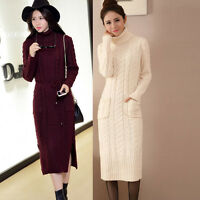 Women's Long Sleeve Turtleneck Knit Sweater Maxi Dress Pullover Knitwear Blouse