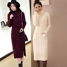 Women's Long Sleeve Turtleneck Knit Sweater Maxi Dress Pullover Knitwear Blouse
