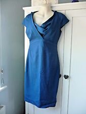 Reiss Blue Fitted Dress with Contrast Cowl Neck, UK 10